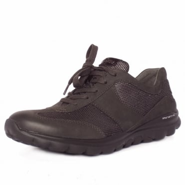 Gabor Rolling Soft Helen Women's Wider Fit Sneaker Shoes in Anthracite