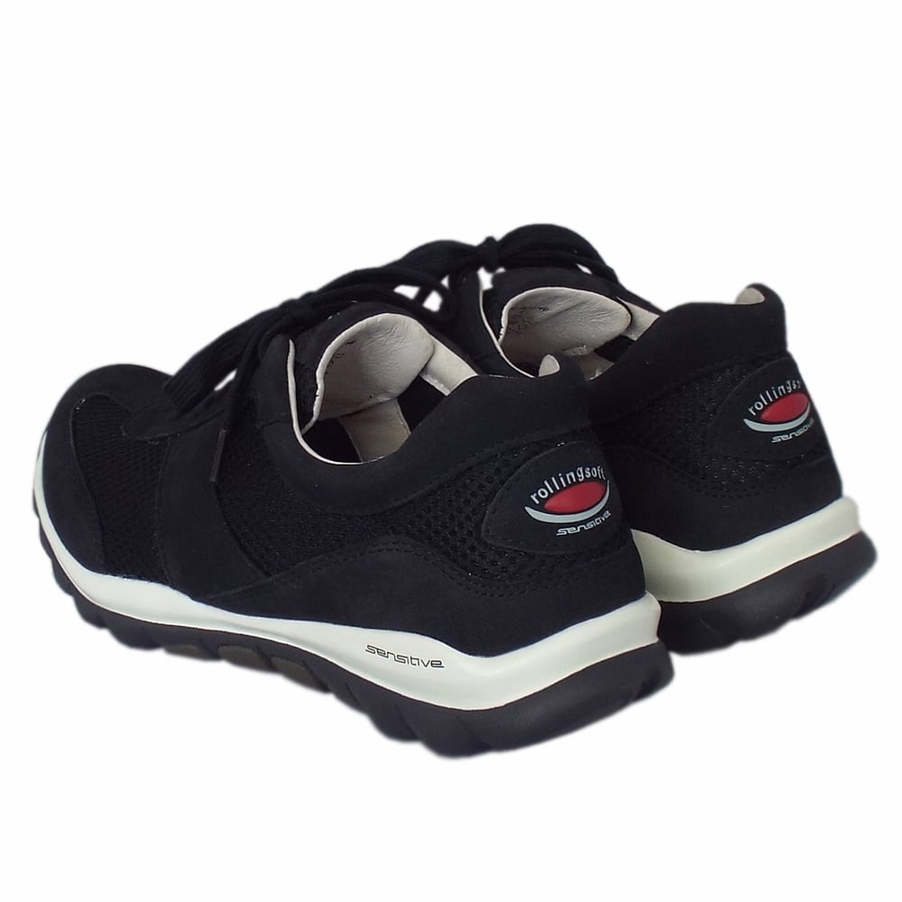 eeb9c9d214e4a Gabor Rolling Soft | Helen | Modern Lace-up Sneakers in Navy | Mozimo