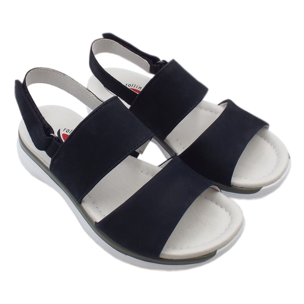 Gabor Rollingsoft Sisco Adjustable Sling back Casual Sandals in Night Blue