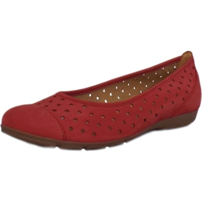 Gabor Ruffle Sporty Ballet Pumps With Laser Cut Out In Red