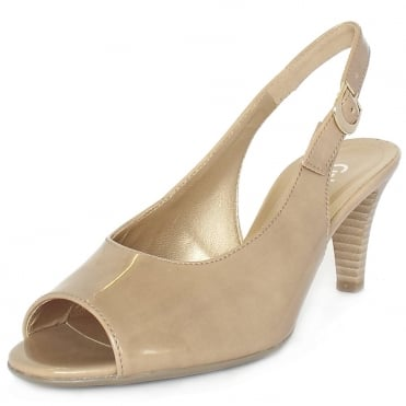 Gabor Rumble Womens Sling Back Sandals In Beige Patent