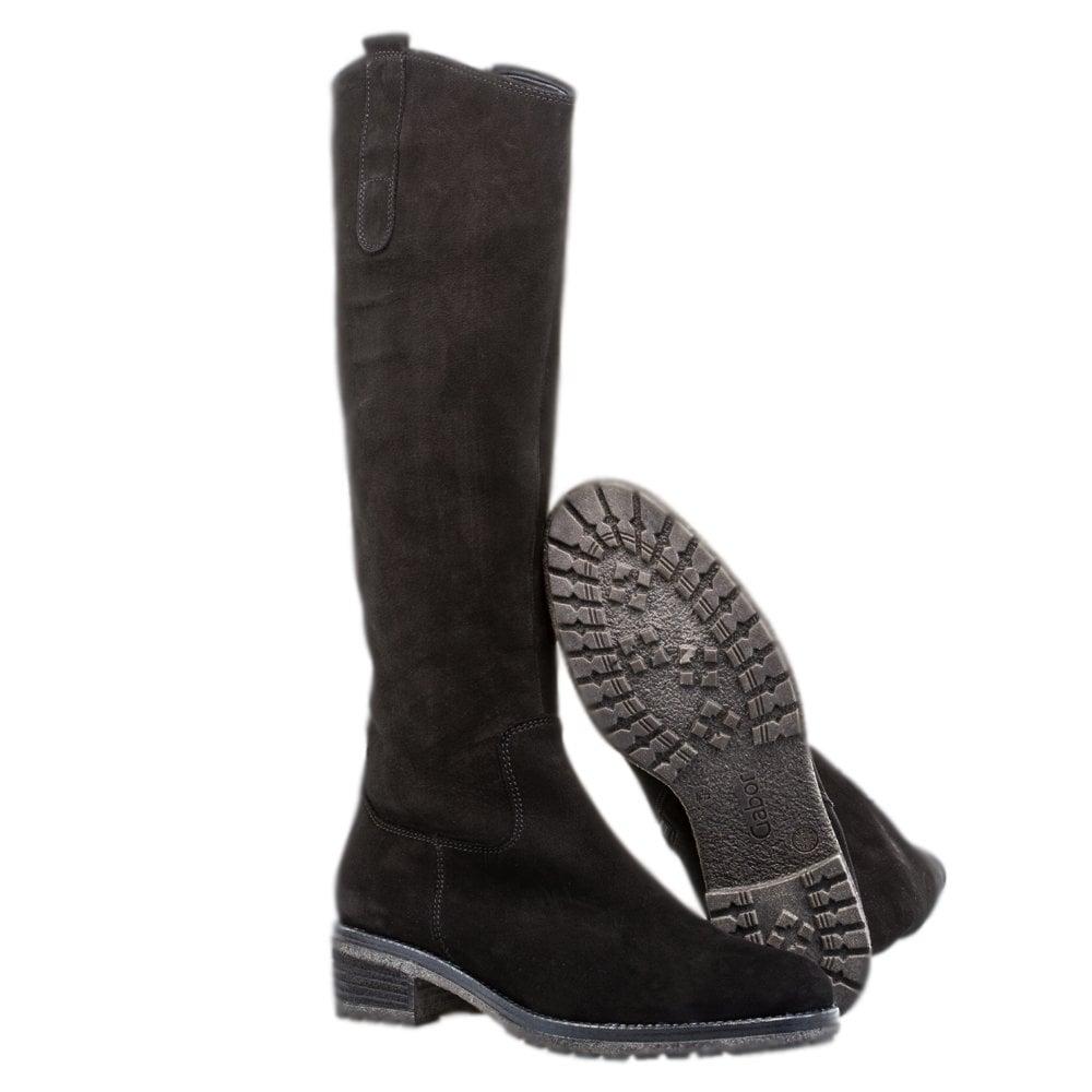 Knee High Black Nubuck Ladies Boots
