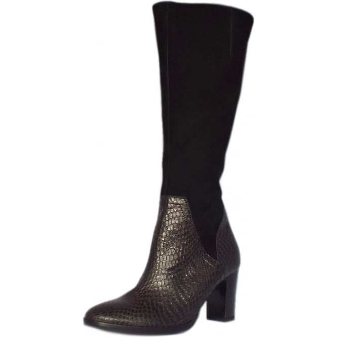 Gabor Sienna Black Mix Leather Knee High Boots