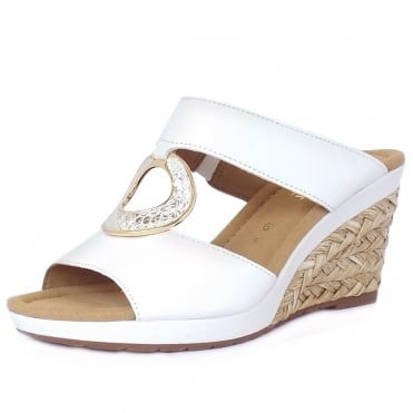 Gabor Sizzle Modern Wedge Sandals in White Leather