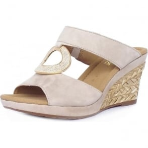 Sizzle Modern Wide Fit Wedge Sandals in Beige