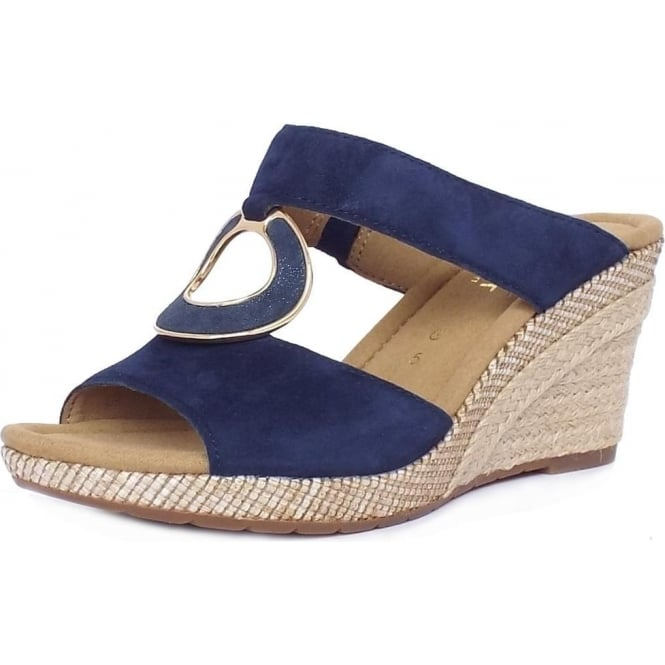 Gabor Sizzle Modern Wide Fit Wedge Sandals in Navy Suede