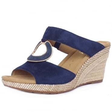 Sizzle Modern Wide Fit Wedge Sandals in Navy Suede