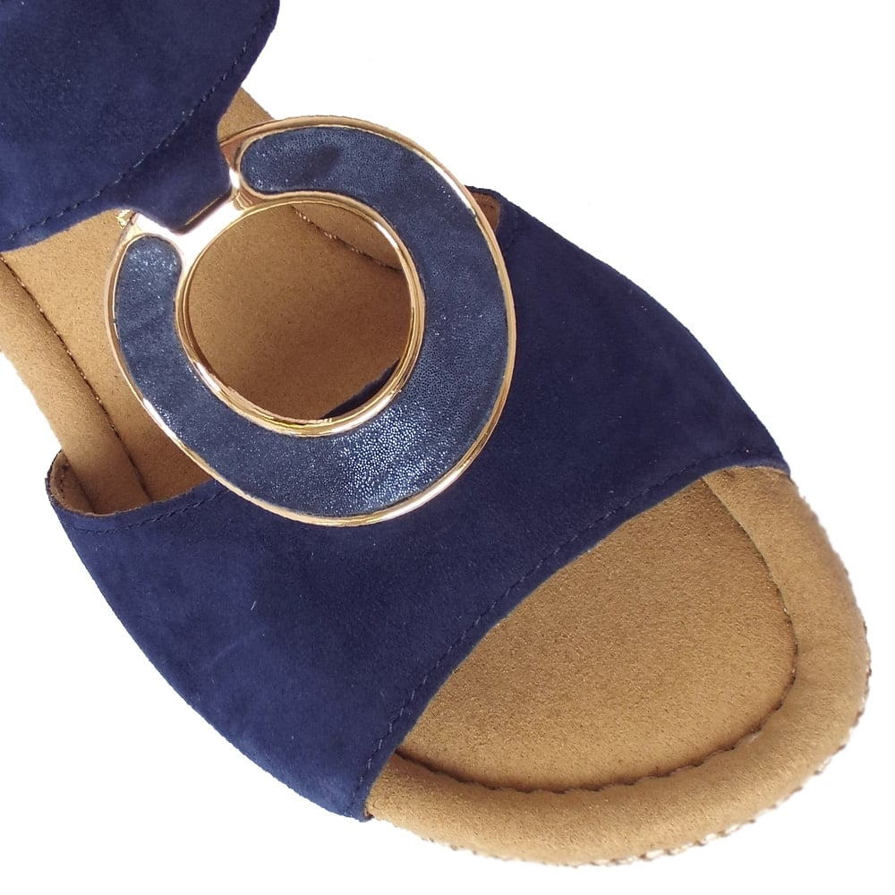 746b3daab71 Sizzle Modern Wide Fit Wedge Sandals in Navy Suede