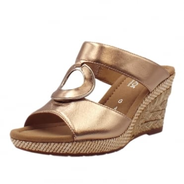 Sizzle Modern Wide Fit Wedge Sandals in Rose Gold