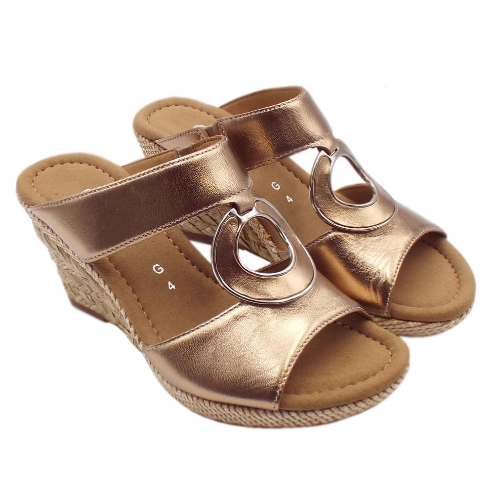 590f28511c56 Sizzle Modern Wide Fit Wedge Sandals in Rose Gold