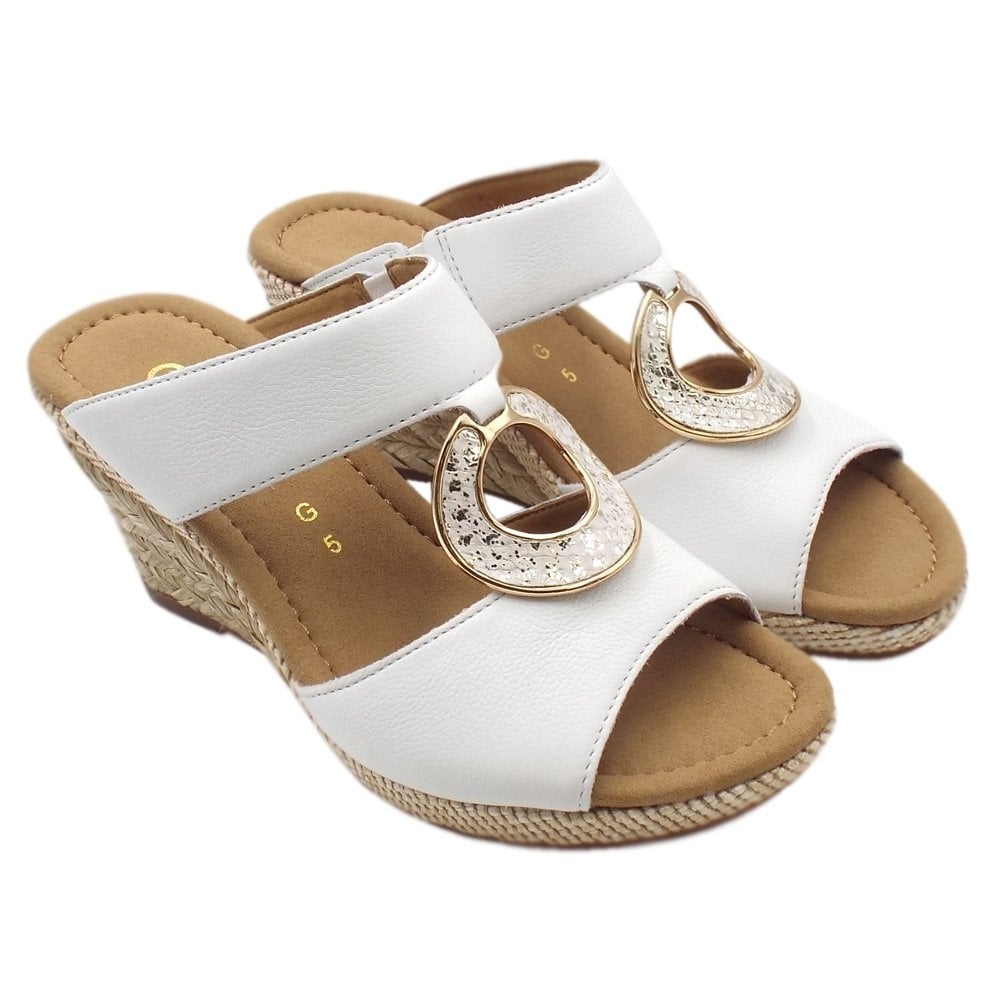 ddd08d50533 Sizzle Modern Wide Fit Wedge Sandals in White