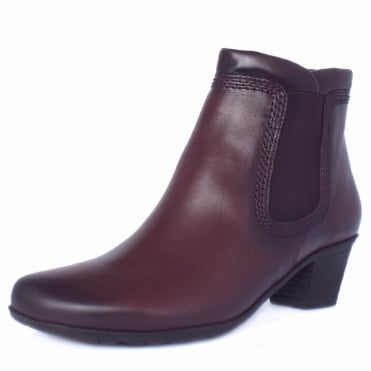 Sound Ladies Winter Ankle Boots In Wine Leather