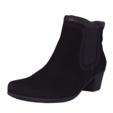 Sound Low Heel Nubuck Ankle Boot in Black