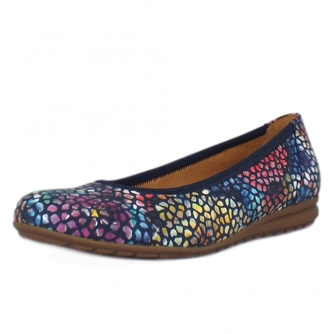 Gabor Splash Modern Wider Fit Ballet Pumps in Flower Navy