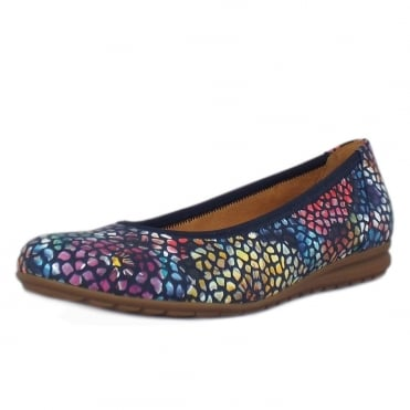 Splash Modern Wider Fit Ballet Pumps in Flower Navy