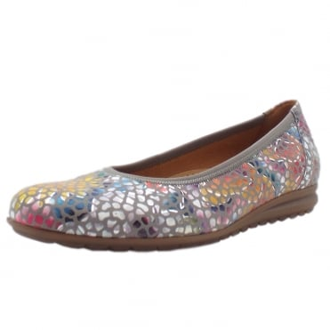 Splash Women's Modern Wider Fit Ballet Pumps in Flower Stone
