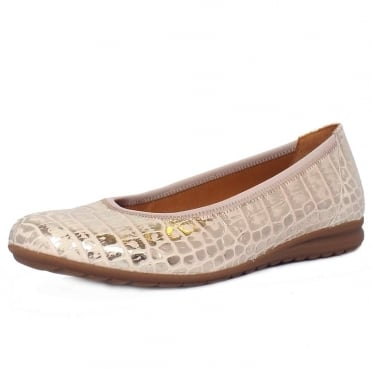Splash Women's Wider Fit Ballet Pumps in Croc Effect Rose and Gold Leather