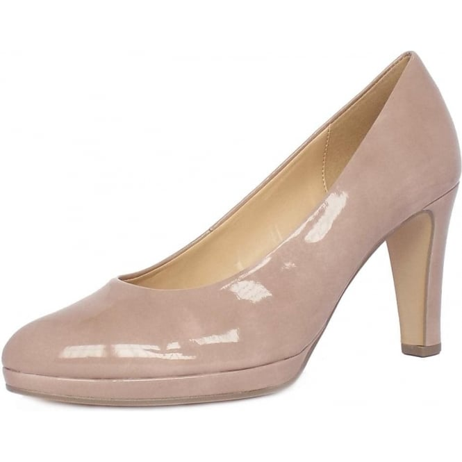 Gabor Splendid Women's Modern Mid Heel Court Shoes in Antique Rose Patent