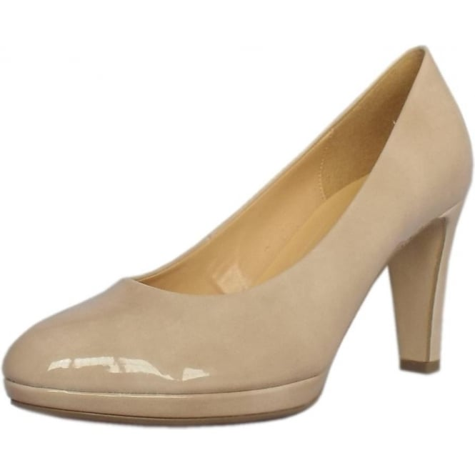 Gabor Splendid Women's Modern Mid Heel Court Shoes in Sand Patent