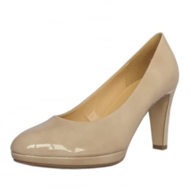 Splendid Women's Modern Mid Heel Court Shoes in Sand Patent