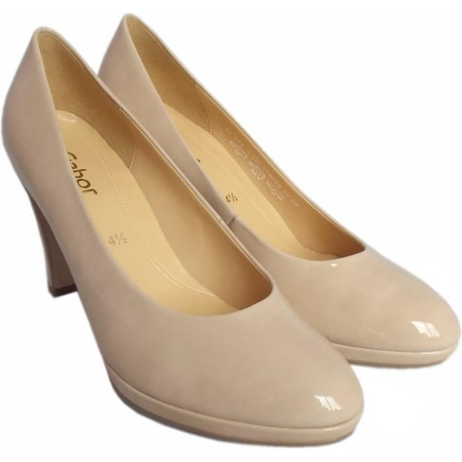 2bb45da42 Gabor Shoes | Splendid | Ladies Court Shoe in Sand Patent | Mozimo