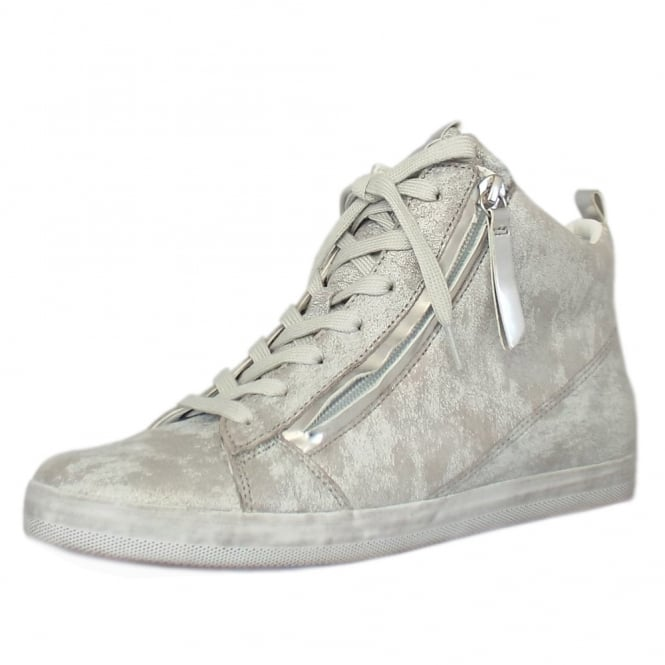 Gabor Steady Modern Hi Top Trainer in Silver