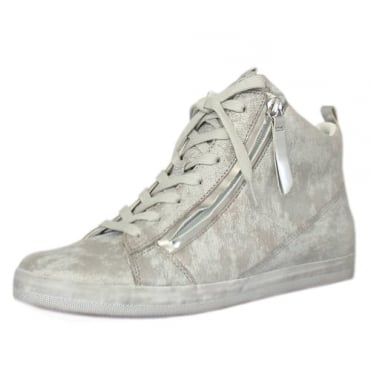 Steady Modern Hi Top Trainer in Silver
