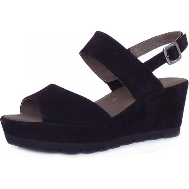 Gabor Study Fashionable Sandals in Black Suede