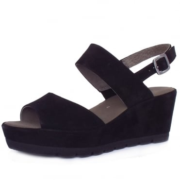 Gabor Study Women's Fashionable Sandals in Black Suede