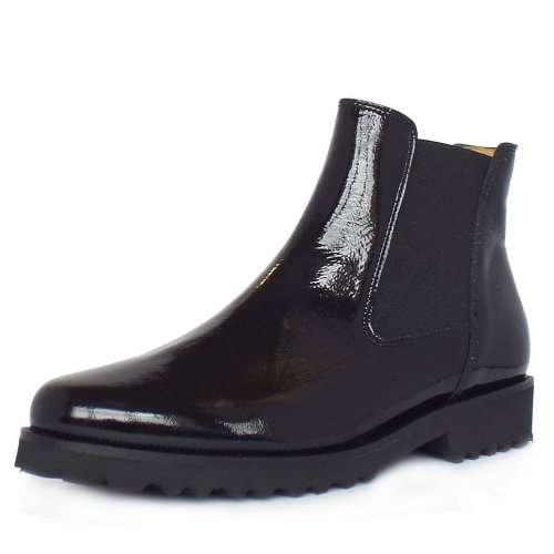 gabor teagan women 39 s modern chelsea style ankle boot in black patent. Black Bedroom Furniture Sets. Home Design Ideas
