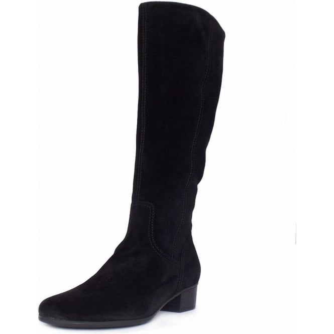Classy Knee High Black Suede Boots