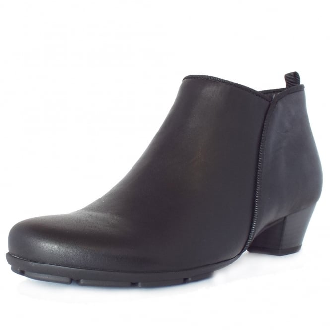 Gabor Trudy Mid Heel Ankle Boots in Black Leather