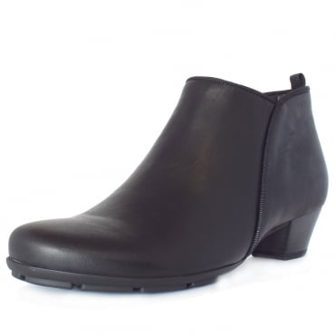 Trudy Mid Heel Ankle Boots in Black Leather