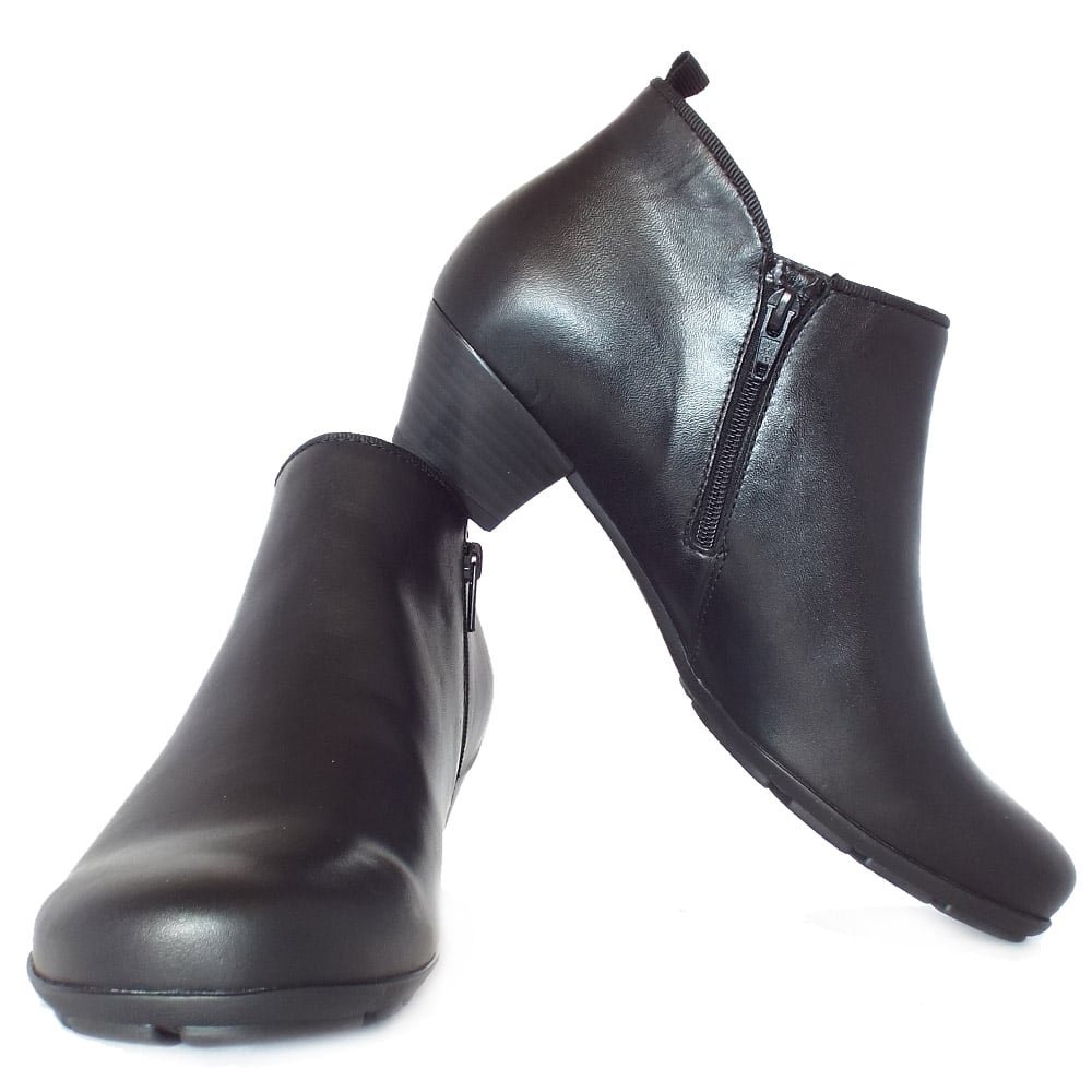 fc42b616b764 Trudy Mid Heel Ankle Boots in Black Leather