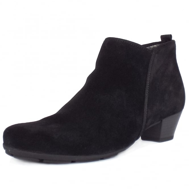 Gabor Trudy Modern Ankle Boots in Black Suede
