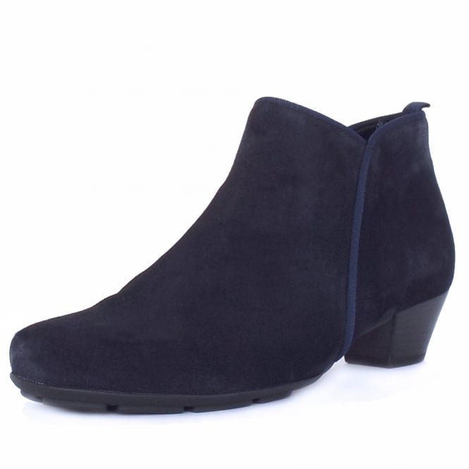 Gabor Trudy Modern Ankle Boots in Navy Suede
