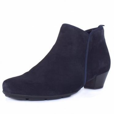 Trudy Modern Ankle Boots in Navy Suede
