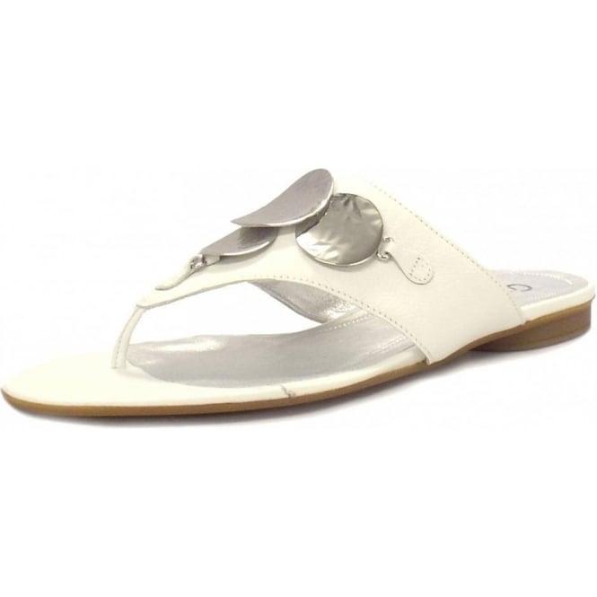 Valerina Ladies White Leather Toe Thong