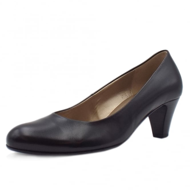Gabor Vesta 2 Low Heel Leather Court Shoes In Black