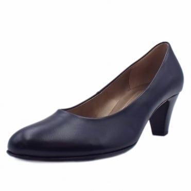 Vesta 2 Low Heel Leather Court Shoes In Navy
