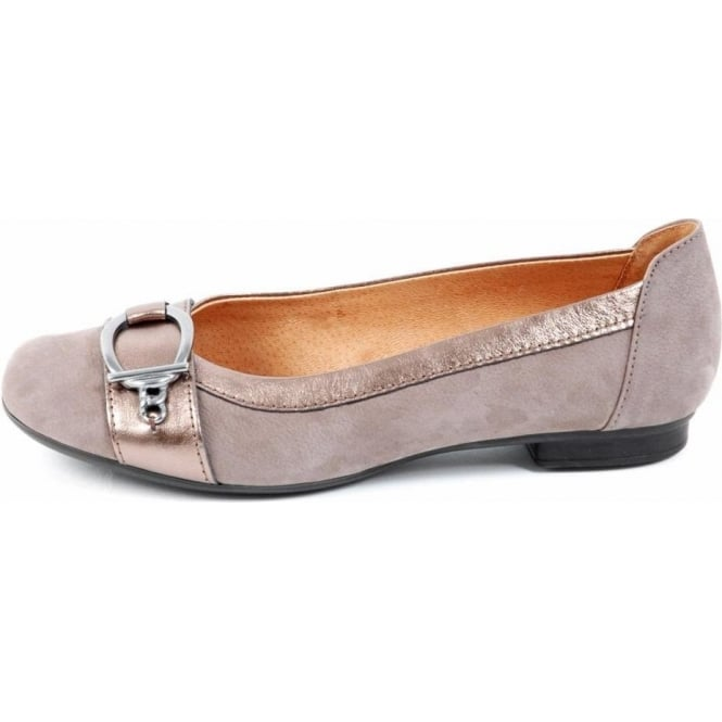 gabor shoes virginia womens ballet pump in taupe nubuck. Black Bedroom Furniture Sets. Home Design Ideas