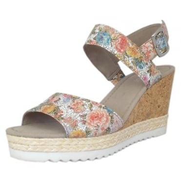 Wicket Modern Wide Fit Wedge Sandals in Flower