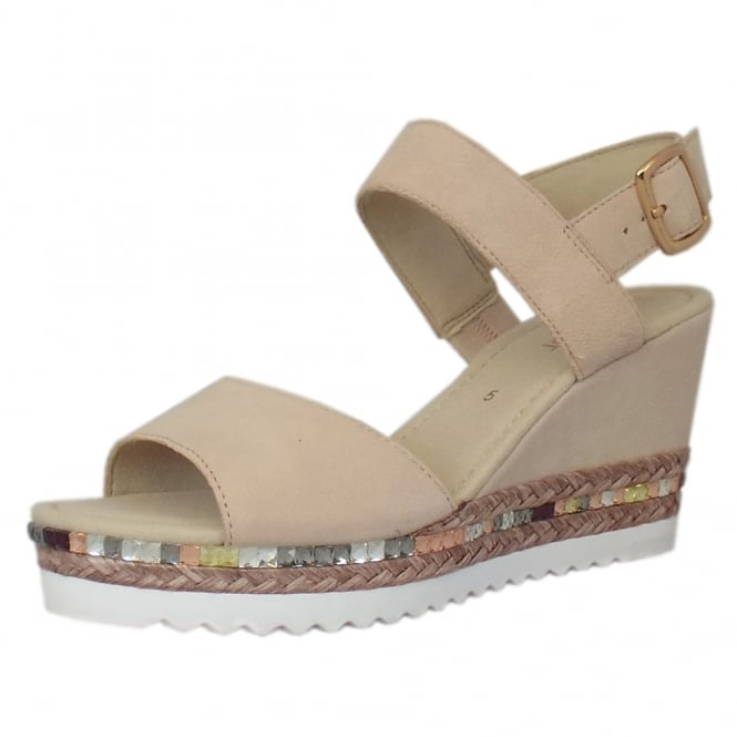 Gabor Wicket Modern Wide Fit Wedge Sandals in Skin