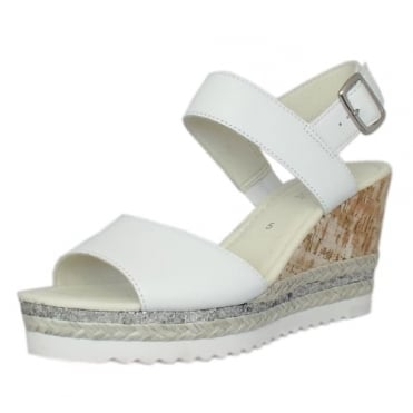 Wicket Modern Wide Fit Wedge Sandals in White