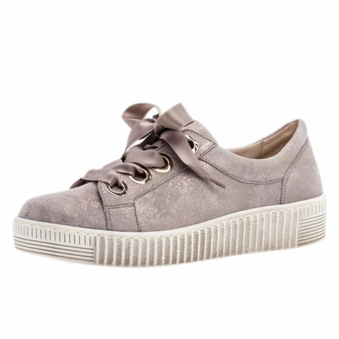 Gabor Wright Lace Up Sneakers in Mushroom
