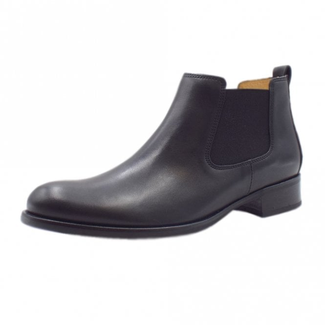 Gabor Zodiac Chelsea Ankle Boots in Black Leather