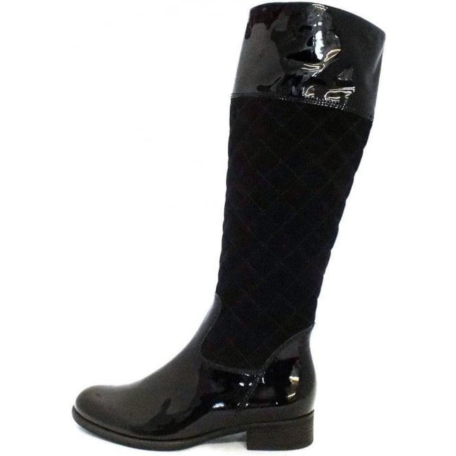 Gabor Boots | Gatsby Womens Long Boot in Black Patent | Mozimo : quilted long boots - Adamdwight.com