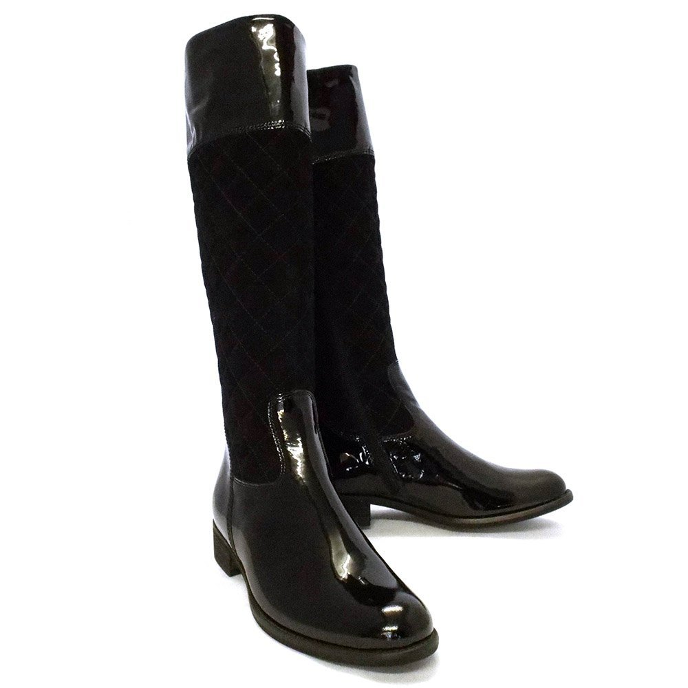 Gabor Boots | Gatsby Womens Long Boot in Black Patent | Mozimo