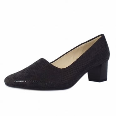 Geneve Classic Low Heel Court Shoes in Black Diano