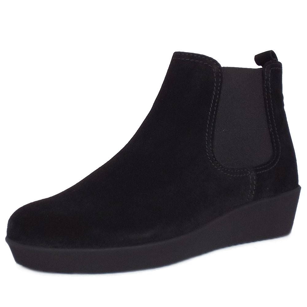 gabor ghost s low wedge ankle boots in black suede